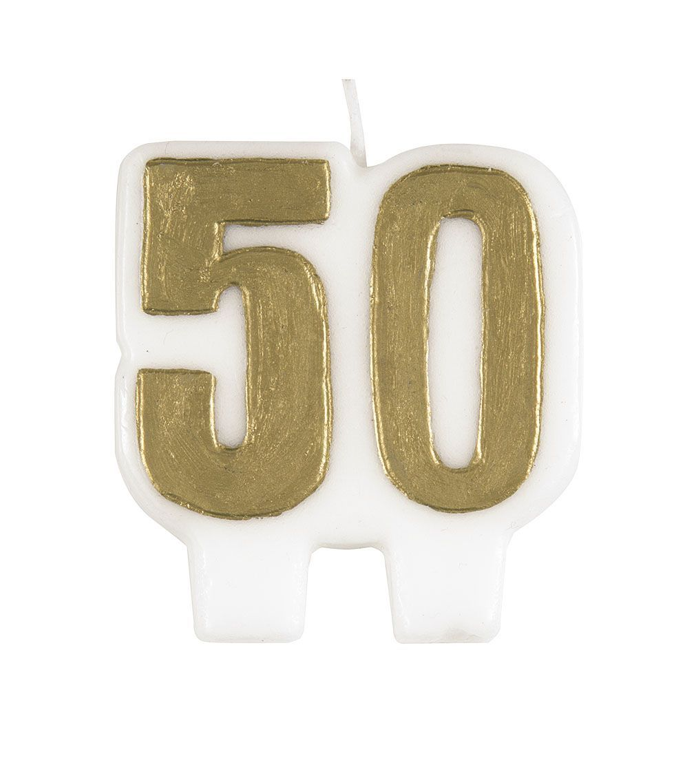 50th Gold Numeral Happy Birthday Candle