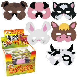 6 x foam farm animal masks