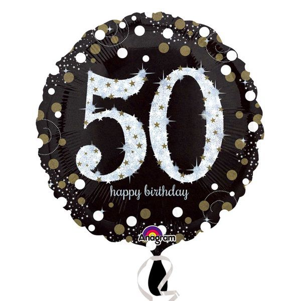Black Gold 50th Birthday Foil Balloon
