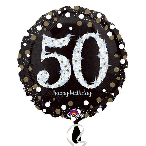 Black Gold 50th Birthday Foil Balloon