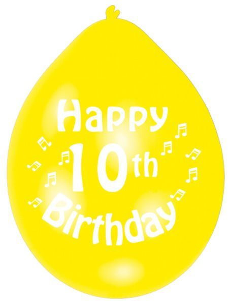 Happy 10th Birthday Latex Balloons 10 Per Pack