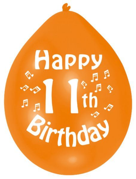 Happy 11th Birthday Latex Balloons 10 Per Pack