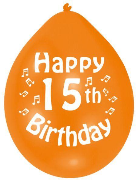 Happy 15th Birthday Latex Balloons 10 Per Pack