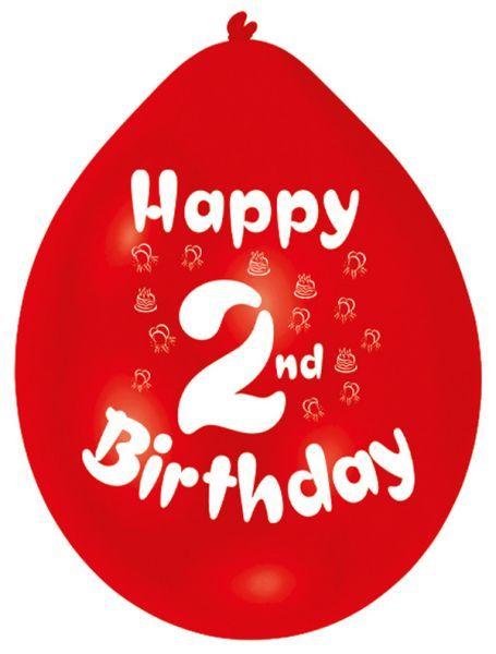 Happy 2nd Birthday Latex Balloons 10 Per Pack