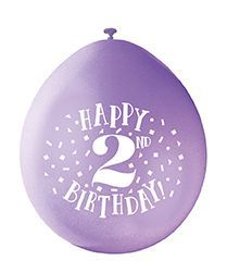 Happy 2nd Birthday Air Fill Latex Balloons 10 X 9 Assorted Colours