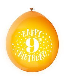 Happy 9th Birthday Air Fill Latex Balloons 10 X 9 Assorted Colours