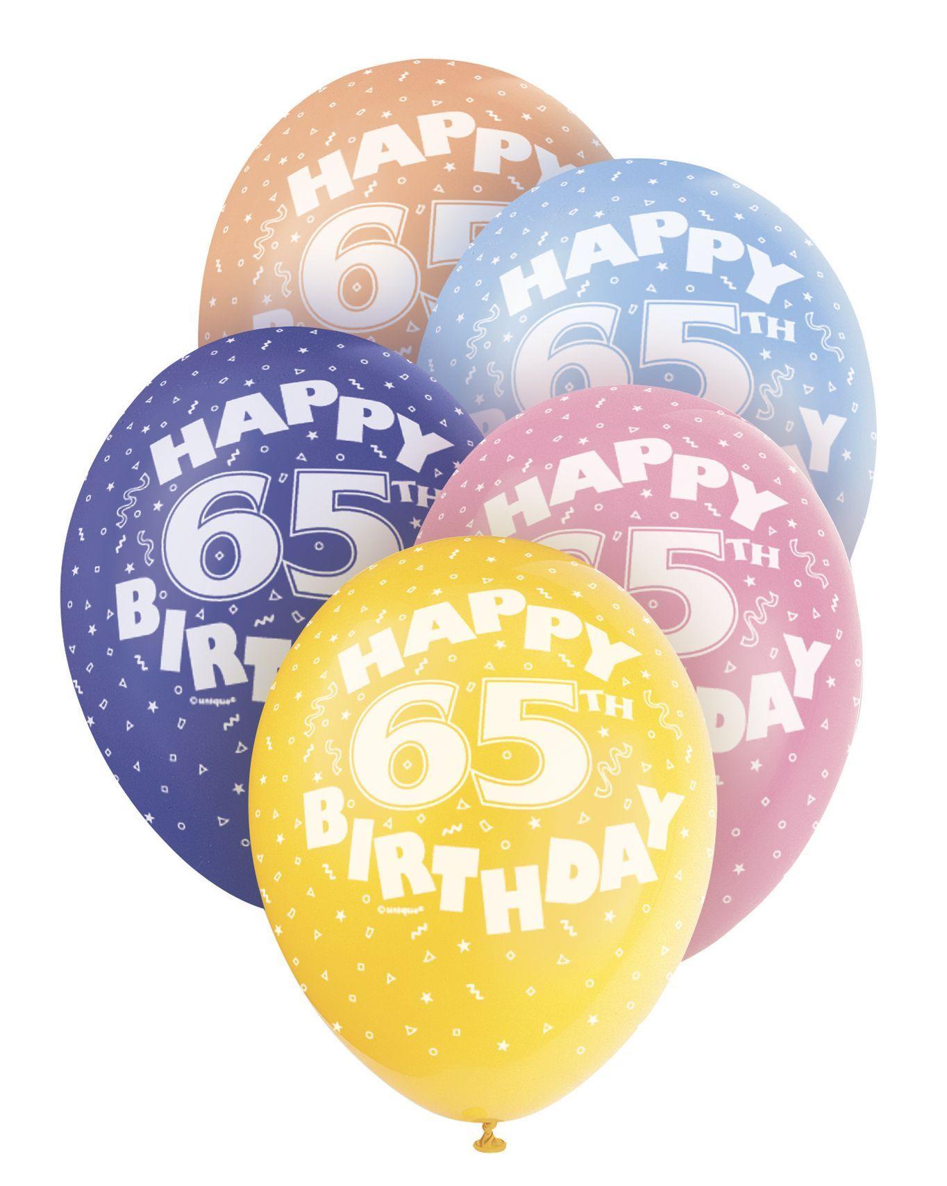 Pearlized Happy 65th Birthday Balloons 5 X 12 Colours May Vary