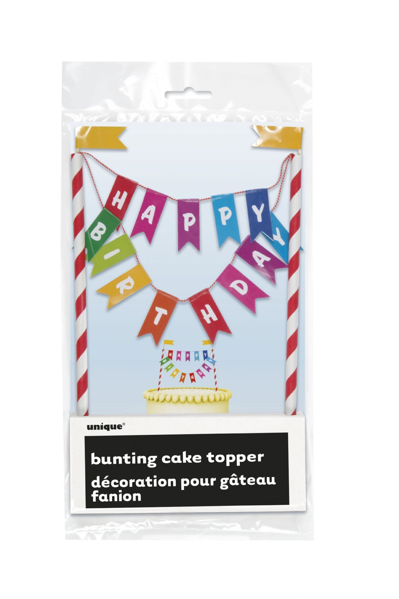 Rainbow Happy Birthday Bunting Cake Topper