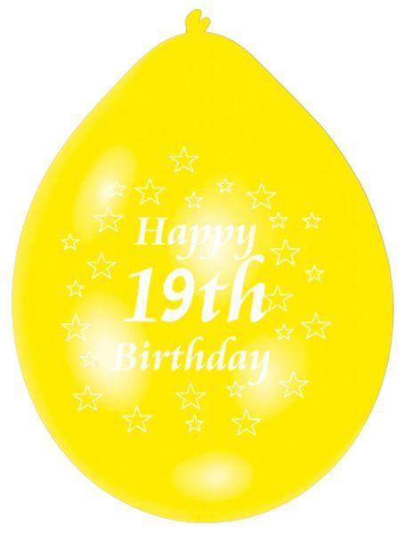 Happy 19th Birthday Latex Balloons 10 Per Pack