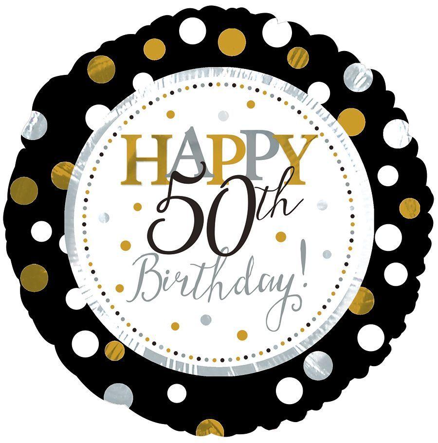 Metallic Polka Happy 50th Birthday Foil Balloon