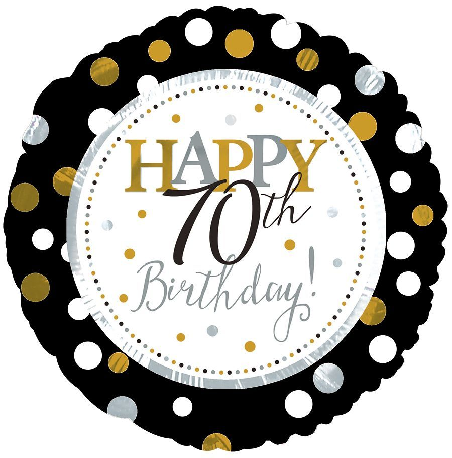 metallic polka happy 70th birthday foil balloon