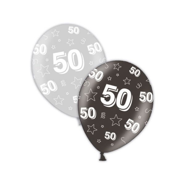 Packet Of 25 X 11 50th Birthday Shimmering Silver Deepest Black Printed Latex Balloons