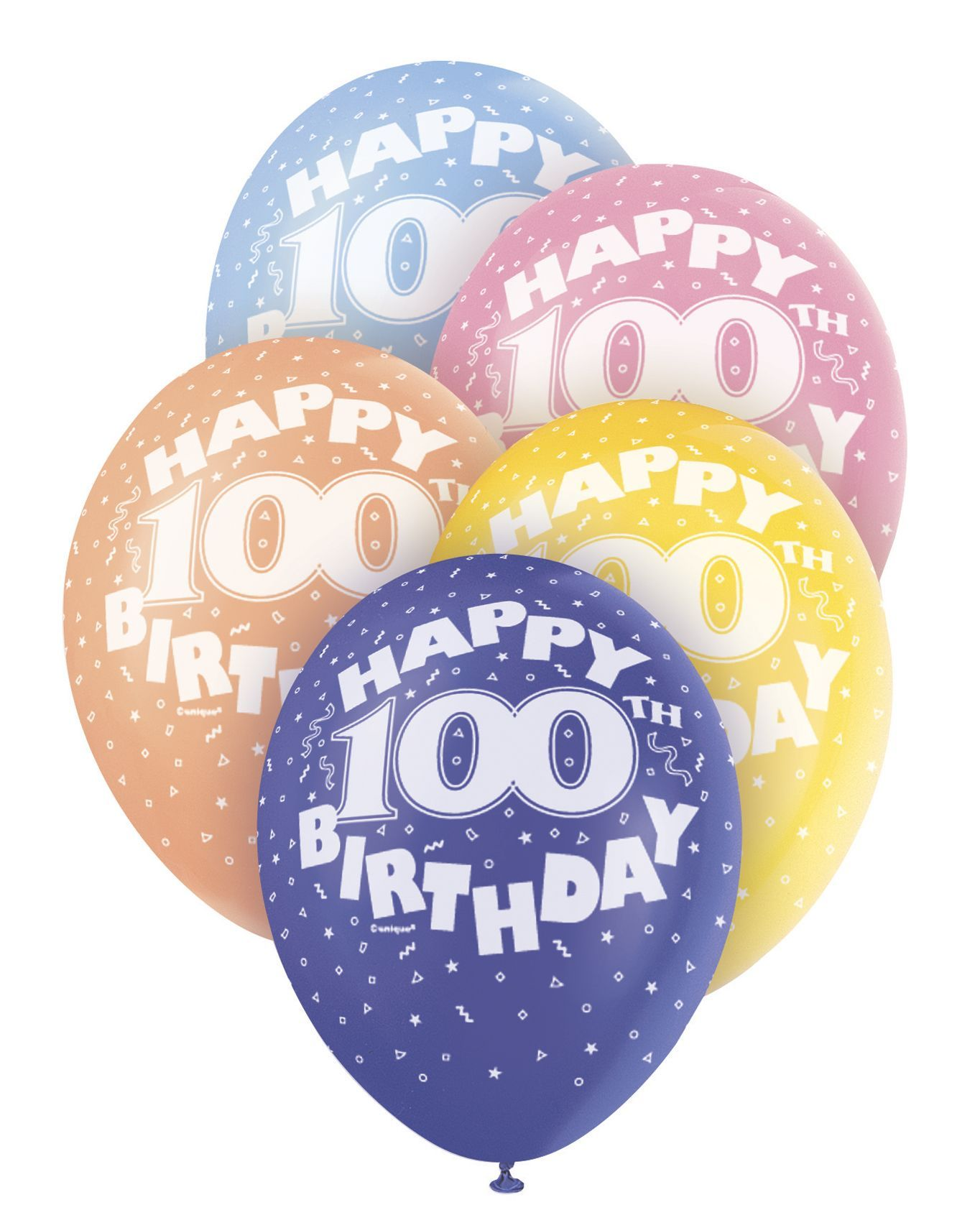 Pearlized Happy 100th Birthday Balloons 5 X 12 Colours May Vary