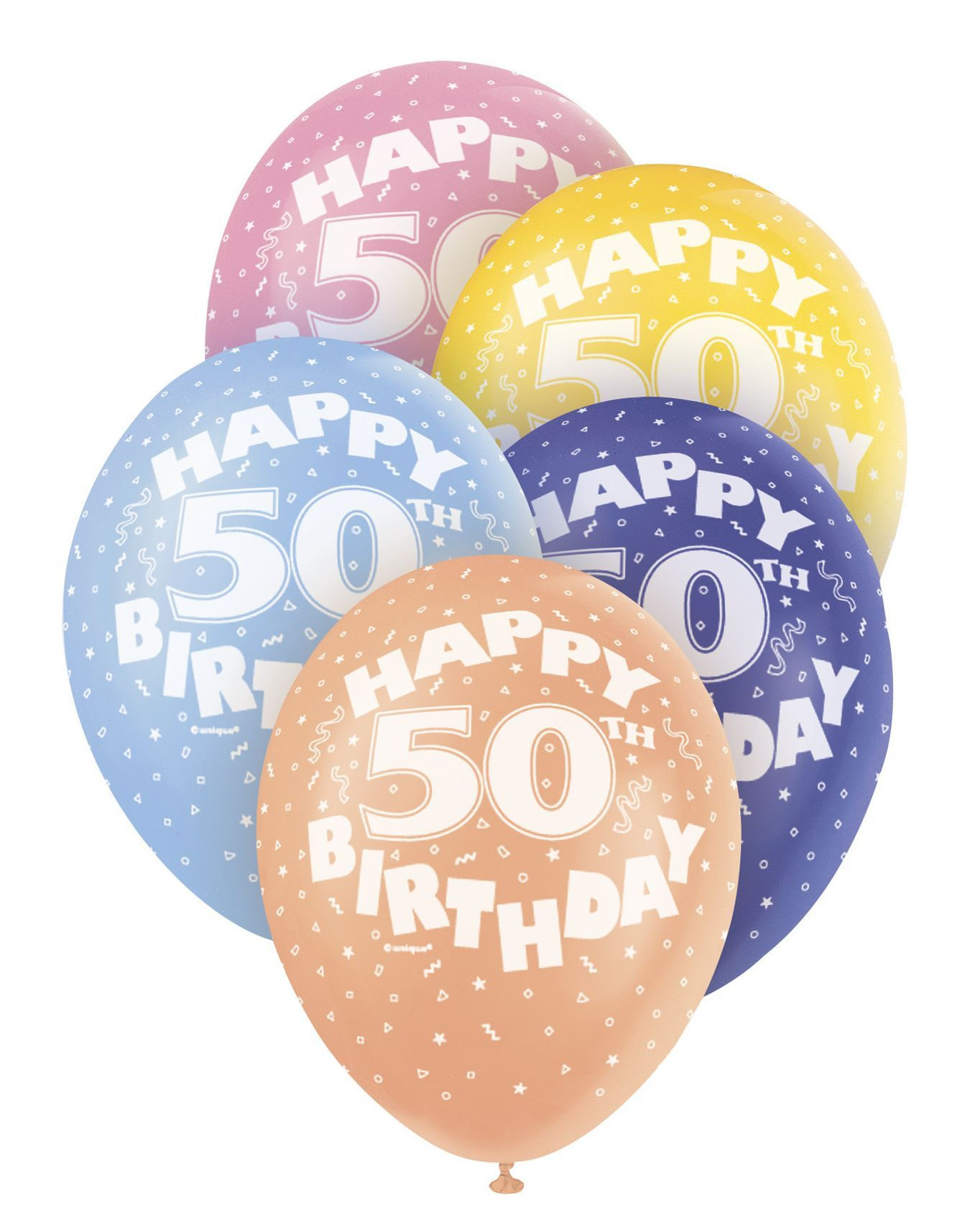 Pearlized Happy 50th Birthday Balloons 5 X 12 Colours May Vary