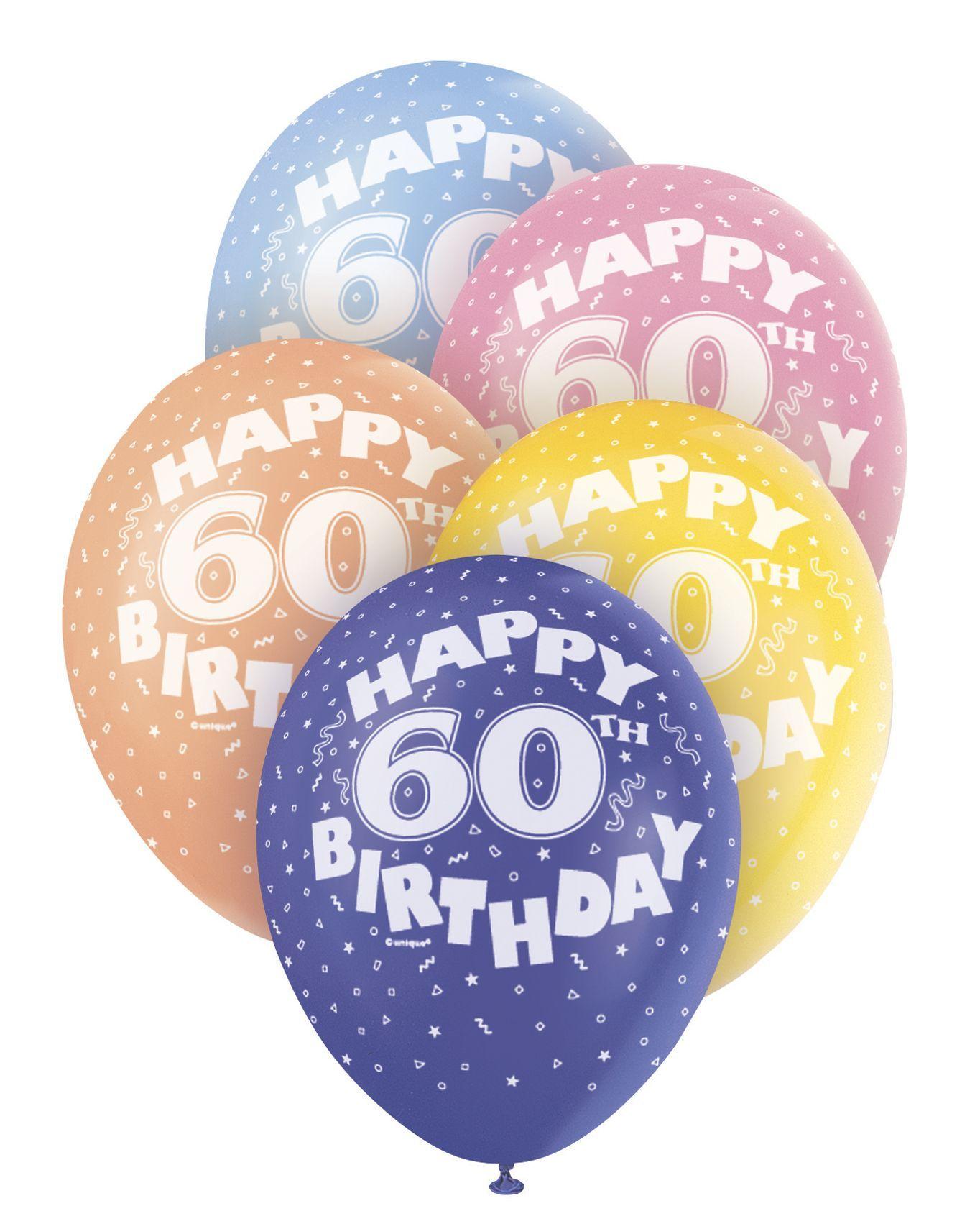 Pearlized Happy 60th Birthday Balloons 5 X 12 Colours May Vary