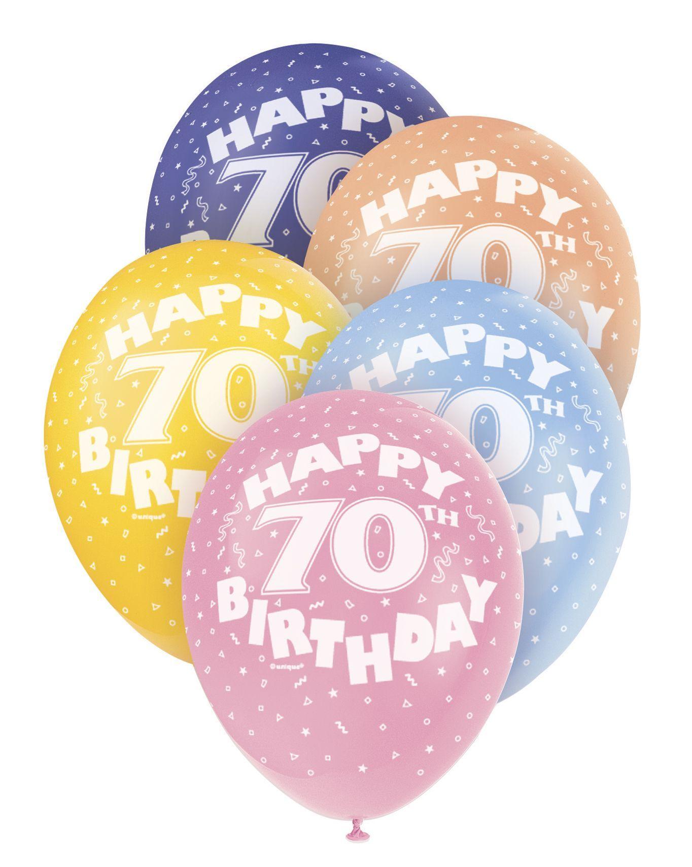 Pearlized Happy 70th Birthday Balloons 5 X 12 Colours May Vary