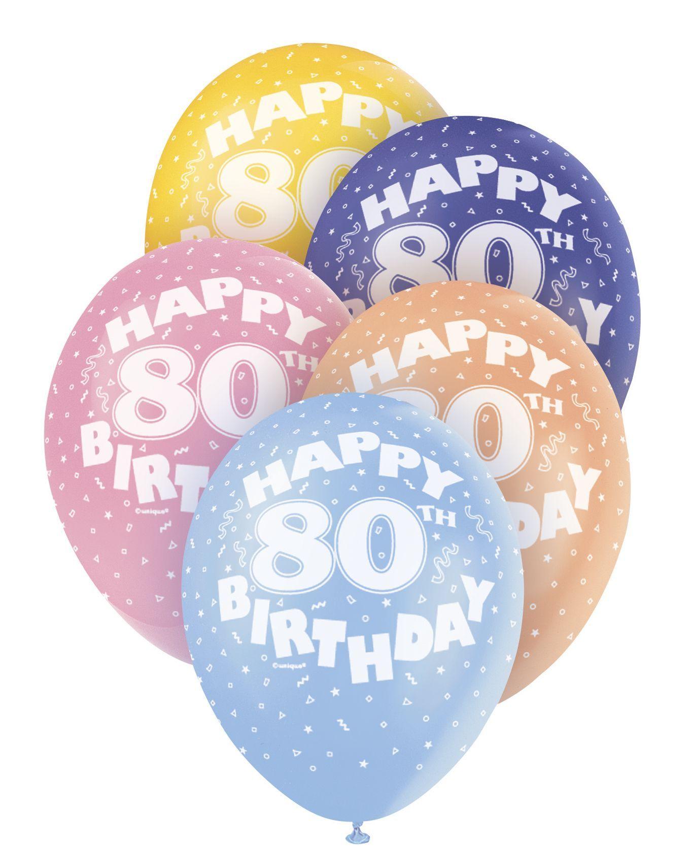 Pearlized Happy 80th Birthday Balloons 5 X 12 Colours May Vary