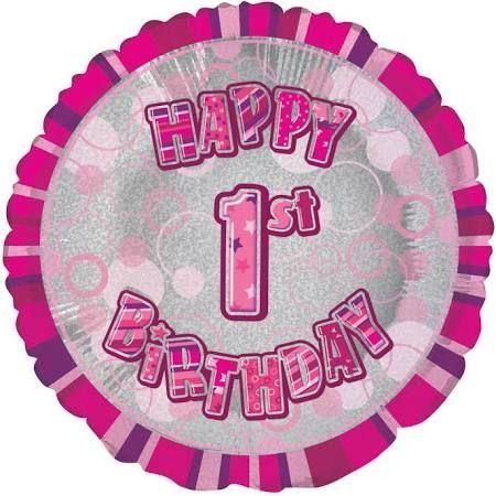 Pink Glitz Happy 1st Birthday Balloon