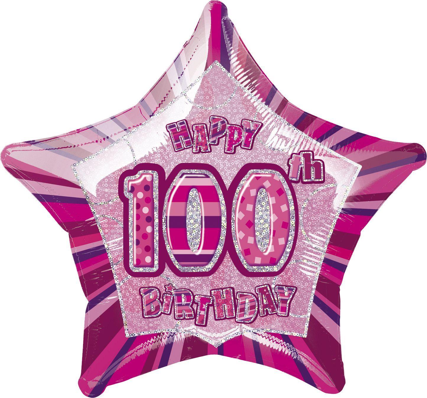 Pink Glitz Star Happy 100th Birthday Balloon
