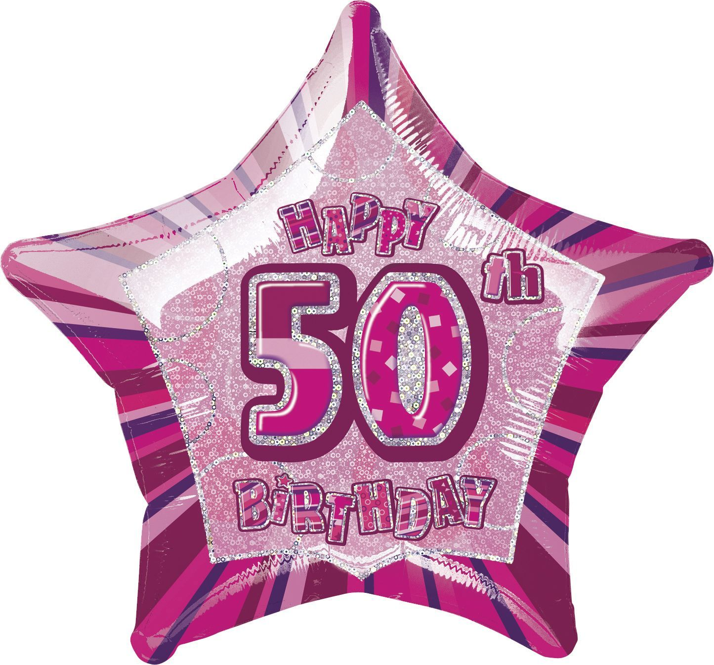 Pink Glitz Star Happy 50th Birthday Balloon