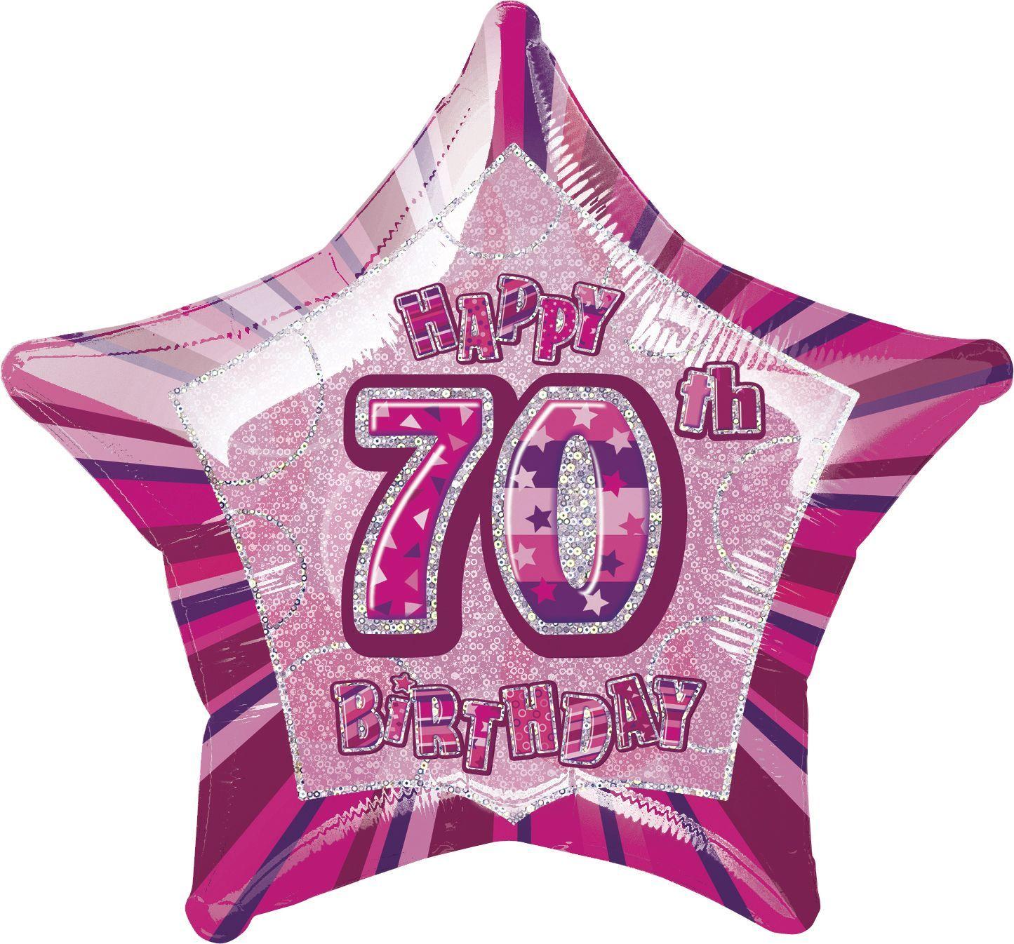 Pink Glitz Star Happy 70th Birthday Balloon