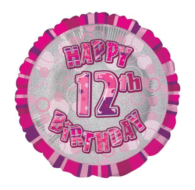 Pink Prism Happy 12th Birthday Balloon