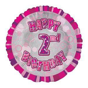 Pink Prism Happy 2nd Birthday Balloon