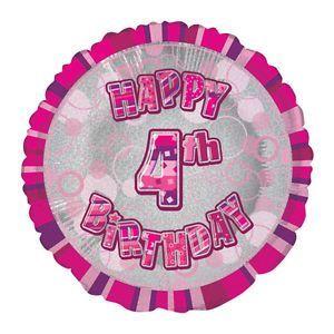 Pink Prism Happy 4th Birthday Balloon
