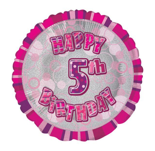 Pink Prism Happy 5th Birthday Balloon