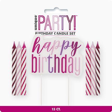 Pink Silver Glitz Glitter Happy Birthday Candle Set