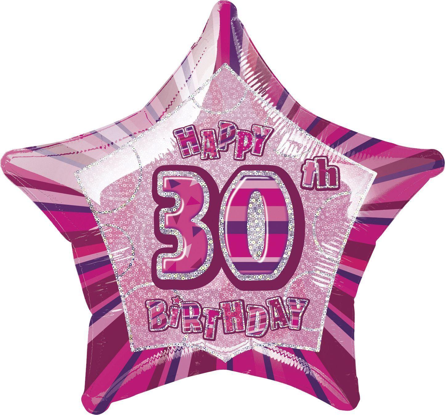 Pink Star Prism Happy 30th Birthday Balloon