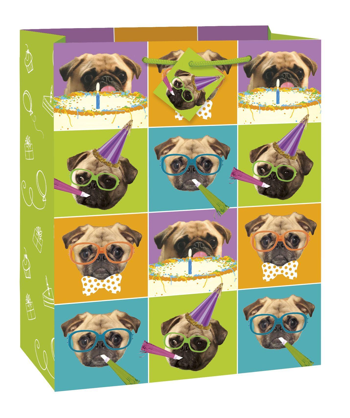Pug Puppy Happy Birthday Giftbag-Large