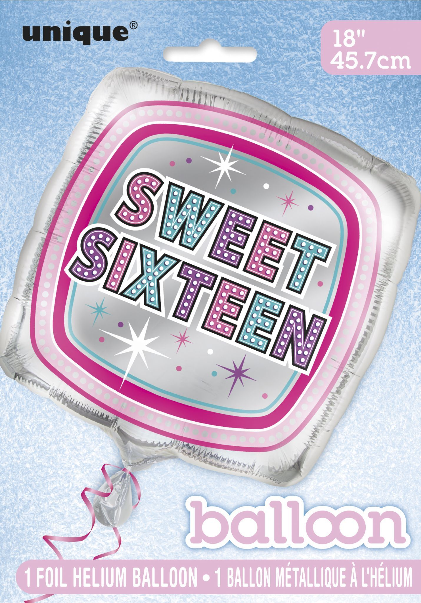 Sweet 16 Birthday Square Foil Balloon